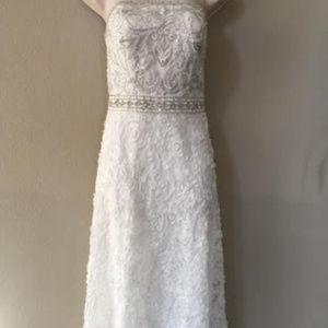Sue Wong Strapless EmbroideredBodice WHITE 10 #174